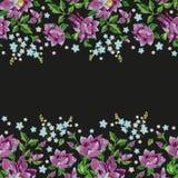 De rozen van de borduurwerkhond en van vergeet-mij-nietjebloemen naadloos patroon Royalty-vrije Stock Foto