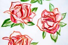 De rozen van de illustratiewaterverf met groene bladeren Stock Afbeeldingen