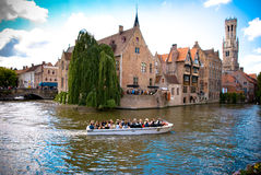 De Rozenkaai. Medieval house on the canals of Bruges Stock Images