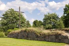 De ruïne Halmstad Zweden van de Ovrabykerk Stock Afbeeldingen