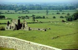 De ruïne van het kasteel binnen groene weiden royalty-vrije stock foto