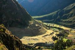 De Ruïnes en de Bergen van Inca Stock Afbeeldingen