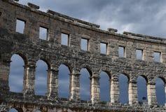 de ruïnes van amphitheatre Pula Kroatië Stock Foto