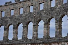 de ruïnes van amphitheatre Pula Kroatië Royalty-vrije Stock Foto's