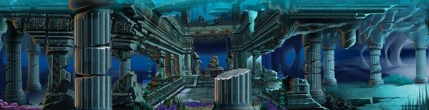 De ruïnes van Atlantis. Onderwater achtergrond. stock illustratie