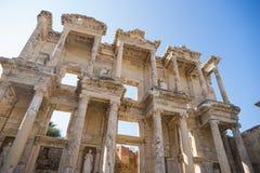 De ruïnes van Bibliotheek Celsus in Ephesus Royalty-vrije Stock Afbeelding