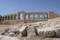 De ruïnes van de Jerashstad in Jordanië Stock Foto
