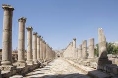 De ruïnes van de Jerashstad in Jordanië Stock Afbeelding