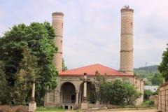 De ruïnes van de Moskee van Yukhari Govhar Agha in Shusha-stad Stock Afbeelding