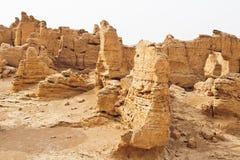 De ruïnes van de oude Jiaohe stad, China Royalty-vrije Stock Afbeeldingen