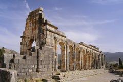 De ruïnes van de oude Roman stad van Volubilis, Marokko Stock Foto's