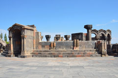 De ruïnes van de oude tempel van Zvartnots, Armenië Stock Foto's