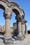 De ruïnes van de oude tempel van Zvartnots, Armenië royalty-vrije stock foto