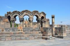 De ruïnes van de oude tempel van Zvartnots, Armenië Stock Foto