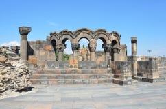 De ruïnes van de oude tempel van Zvartnots, Armenië Royalty-vrije Stock Foto's