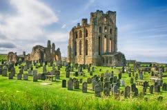 De ruïnes van de priorij, het kasteel en de priorij van Tynemouth Royalty-vrije Stock Foto