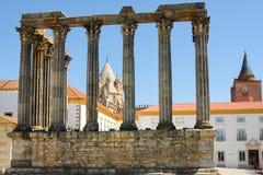 De ruïnes van de Tempel van Diana in Evora - Portugal royalty-vrije stock afbeelding