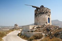 De ruïnes van de windmolen op Santorini Royalty-vrije Stock Foto