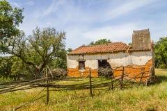 De ruïnes van een Landbouwbedrijfhuis en cork boom in Santiago doen Cacem Stock Afbeelding