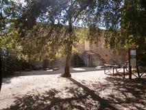 De ruïnes van een oud kasteel in Laconi, Sardinige, Italië Royalty-vrije Stock Afbeeldingen