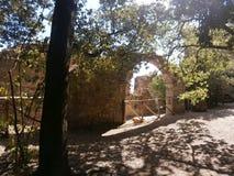 De ruïnes van een oud kasteel in Laconi, Sardinige, Italië Royalty-vrije Stock Afbeelding