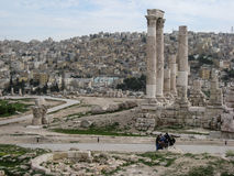 Roman ruïnes. Tempel van Hercules. Amman. Jordanië Royalty-vrije Stock Afbeelding