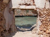 De ruïnes van een visser ` s huisvesten Mallorca Stock Foto