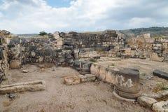 De ruïnes van de Griek - Roman stad van de 3de eeuw BC - de de 8ste eeuwadvertentie Hippus - Susita op Golan Heights dichtbij het stock fotografie