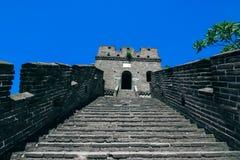 De ruïnes van de Grote Muur van China bij Mutianyu-sectie in noordoosten van centraal Peking, China stock foto