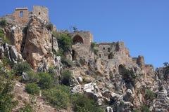 De ruïnes van heilige Hilarion Castle Royalty-vrije Stock Foto's