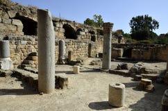 De ruïnes van het Agrippapaleis, Israël stock fotografie