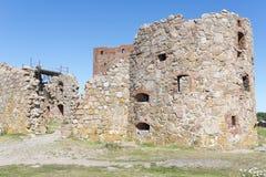 De ruïnes van het Hammershuskasteel Stock Foto's