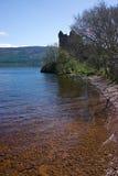 De ruïnes van het kasteel op de meerLoch kust van Ness Stock Fotografie