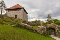 De ruïnes van het Kleine Kasteel in Kamnik, Royalty-vrije Stock Fotografie