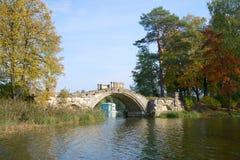 De ruïnes van het oude Gebochelde overbruggen in het Gatchina-paleispark, september-dag Rusland Royalty-vrije Stock Afbeelding