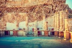 De ruïnes van het paleis van Koning Herod ` s Masada stock foto