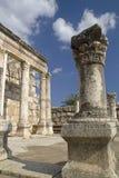 De ruïnes van Jesus Synagogue in Capernaum, Israël Stock Foto