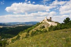 De ruïnes van kasteel Cachtice Stock Foto