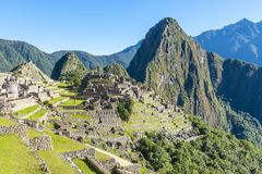 De Ruïnes van Machupicchu in de Zomer, Peru stock foto's