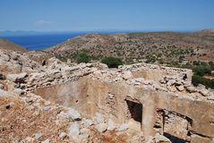 De ruïnes van Mikrochorio, Tilos-eiland stock afbeeldingen
