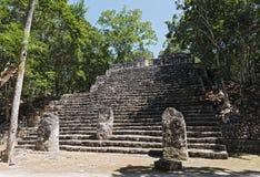 De ruïnes van de oude Mayan stad van calakmul, Campeche, Mexico stock fotografie