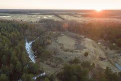 De ruïnes van oude vesting in Valjala, Saaremaa Estland Stock Foto's