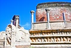 De Ruïnes van Polonnaruwa, tweede - oudst van de koninkrijken van Sri Lanka Stock Foto