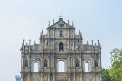 De Ruïnes van St Paul ` s, een beroemdste toeristische attractie in Macao, Royalty-vrije Stock Fotografie