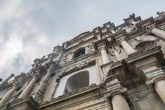 De Ruïnes van St Paul ` s, een beroemdste toeristische attractie in Macao, Stock Foto's