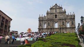 De ruïnes van St Paul ` s Kathedraal Macao, China Stock Afbeeldingen