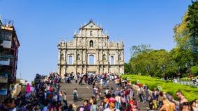 De Ruïnes van St Paul ` s in Macao, China Stock Foto's