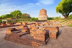 De ruïnes van Stupa van Dhamekh Royalty-vrije Stock Foto's