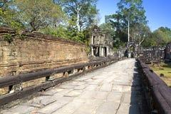 De ruïnes van tempelpreah Khan (12de Eeuw) in Angkor Wat, Siem oogsten, Kambodja stock afbeelding