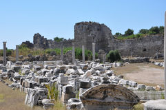 De ruïnes van Thermae stock foto's